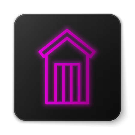 Glowing neon line Wooden outdoor toilet icon isolated on white background. Black square button. Vector.