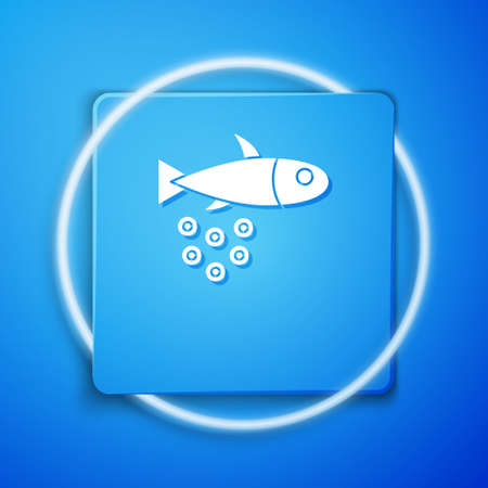 White Fish with caviar icon isolated on blue background. Blue square button. Vector.. Ilustrace