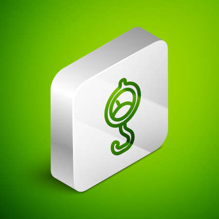 Isometric line Spring scale icon isolated on green background. Balance for weighing. Determination of weight. Silver square button. Vector. Vettoriali