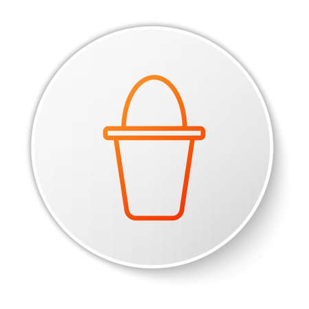 Orange line Fishing bucket icon isolated on white background. Fish in a bucket. White circle button. Vector.