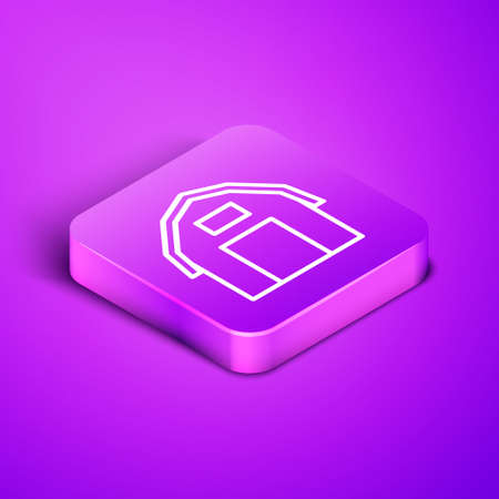Isometric line Farm house icon isolated on purple background. Purple square button. Vector. Çizim