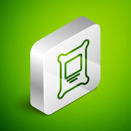 Isometric line Fertilizer bag icon isolated on green background. Silver square button. Vector.