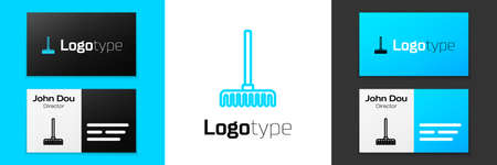 Blue line Garden rake icon isolated on white background. Tool for horticulture, agriculture, farming. Ground cultivator. Logo design template element. Vector.