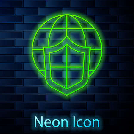 Glowing neon line Shield with world globe icon isolated on brick wall background. Insurance concept. Security, safety, protection, privacy concept. Vector..