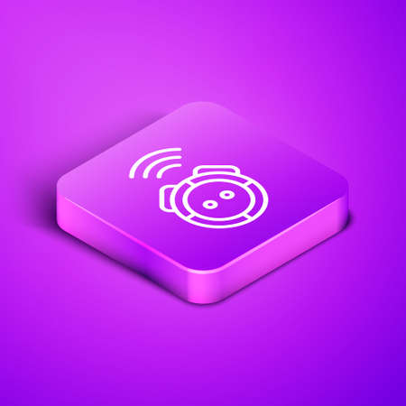 Isometric line Robot vacuum cleaner icon isolated on purple background. Home smart appliance for automatic vacuuming, digital device for house cleaning. Purple square button. Vector. Stock Illustratie
