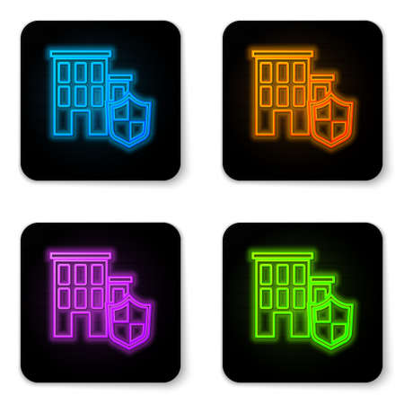 Glowing neon House with shield icon isolated on white background. Insurance concept. Security, safety, protection, protect concept. Black square button. Vector..