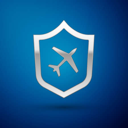 Silver Plane with shield icon isolated on blue background. Flying airplane. Airliner insurance. Security, safety, protection, protect concept. Vector..