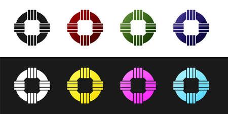 Set Lifebuoy icon isolated on black and white background. Lifebelt symbol. Vector.. Illusztráció