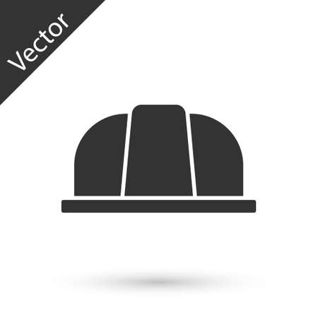 Grey Worker safety helmet icon isolated on white background. Insurance concept. Security, safety, protection, protect concept. Vector.. Ilustracja