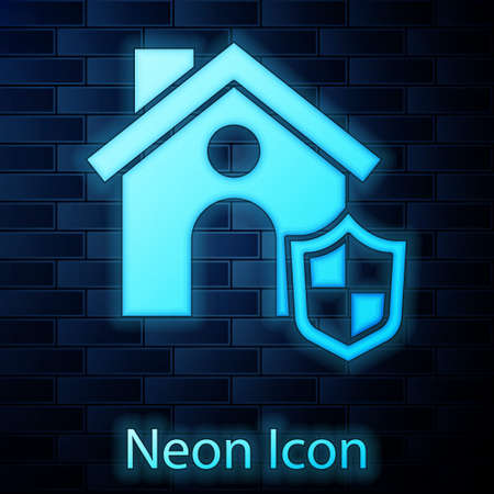 Glowing neon House with shield icon isolated on brick wall background. Insurance concept. Security, safety, protection, protect concept. Vector..