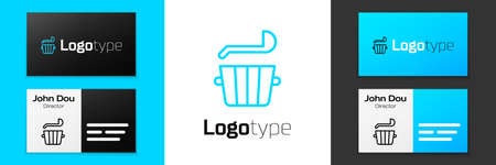 Blue line Sauna bucket and ladle icon isolated on white background. Logo design template element. Vector. Ilustrace