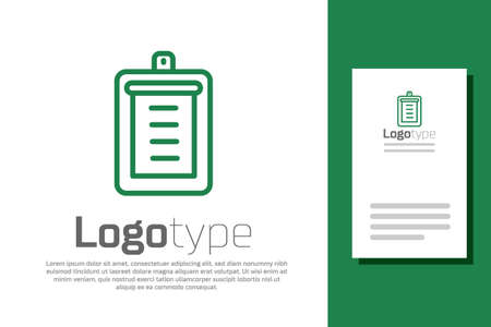 Green line Clipboard with checklist icon isolated on white background. Control list symbol. Survey poll or questionnaire feedback form. Logo design template element. Vector.