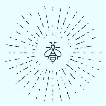 Black line Bee icon isolated on grey background. Sweet natural food. Honeybee or apis with wings symbol. Flying insect. Abstract circle random dots. Vector. Ilustracja