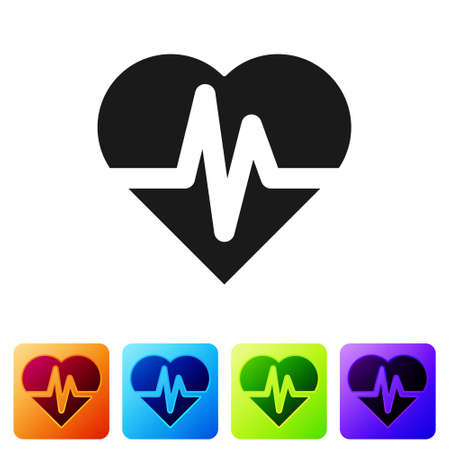 Black Health insurance icon isolated on white background. Patient protection. Security, safety, protection, protect concept. Set icons in color square buttons. Vector.. Stock Illustratie