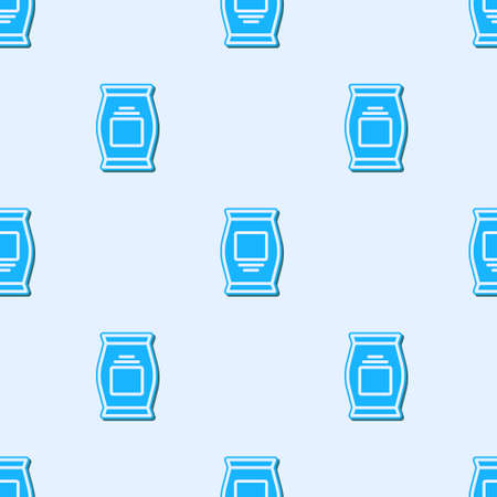 Blue line Fertilizer bag icon isolated seamless pattern on grey background. Vector.
