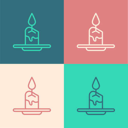 Pop art line Aroma candle icon isolated on color background. Vector.