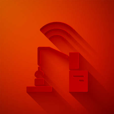 Paper cut Industrial machine robotic robot arm hand factory icon isolated on red background. Industrial robot manipulator. Paper art style. Vector.