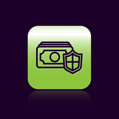 Black line Money with shield icon isolated on black background. Insurance concept. Security, safety, protection, protect concept. Green square button. Vector..