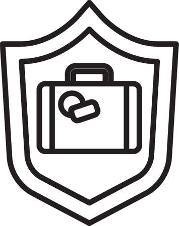 Black line Travel suitcase with shield icon isolated on white background. Traveling baggage insurance. Security, safety, protection, protect concept. Vector..