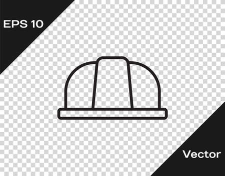 Black line Worker safety helmet icon isolated on transparent background. Insurance concept. Security, safety, protection, protect concept. Vector..