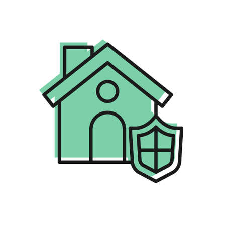 Black line House with shield icon isolated on white background. Insurance concept. Security, safety, protection, protect concept. Vector..