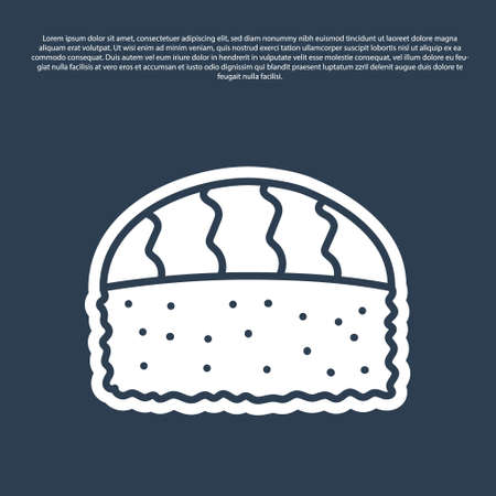 Blue line Sushi icon isolated on blue background. Traditional Japanese food. Vector..