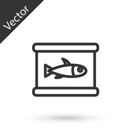 Grey line Canned fish icon isolated on white background. Vector..