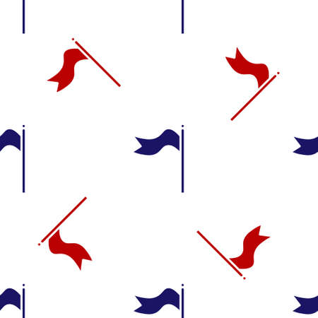 Blue and red Meteorology windsock wind vane icon isolated seamless pattern on white background. Windsock indicate the direction and strength of the wind.  Vector Illustration.