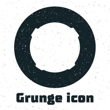 Grunge Moon icon isolated on white background. Monochrome vintage drawing. Vector Illustration.