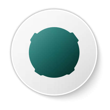 Green Moon icon isolated on white background. White circle button. Vector Illustration.