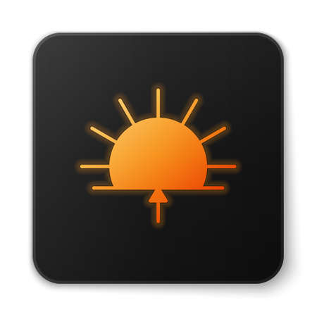 Orange glowing neon Sunrise icon isolated on white background. Black square button. Vector Illustration.
