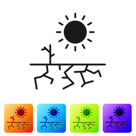 Black Drought icon isolated on white background. Set icons in color square buttons. Vector Illustration. 일러스트