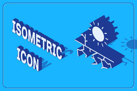 Isometric Drought icon isolated on blue background.  Vector Illustration.