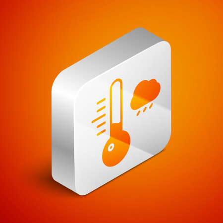 Isometric Meteorology thermometer measuring icon isolated on orange background. Thermometer equipment showing hot or cold weather. Silver square button. Vector Illustration.