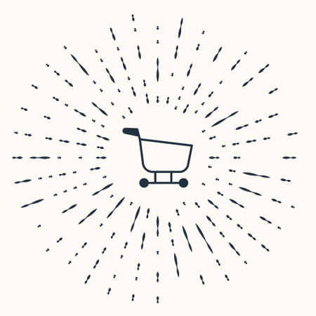 Grey Shopping cart icon isolated on beige background. Food store, supermarket. Abstract circle random dots. Vector Illustration.