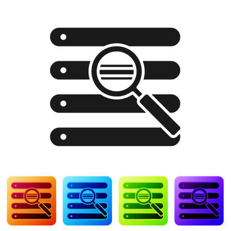 Black Search in a browser window icon isolated on white background. Set icons in color square buttons. Vector Illustration. 向量圖像
