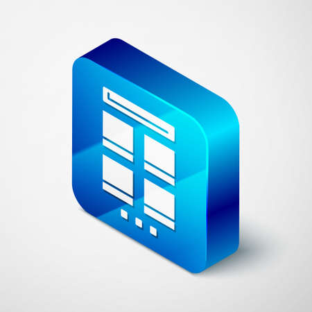 Isometric Online shopping on mobile phone icon isolated on grey background. Internet shop, mobile store app and payments billing. Blue square button. Vector Illustration.