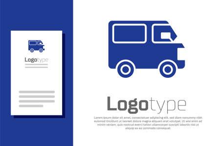 Blue Delivery cargo truck vehicle icon isolated on white background. Illusztráció