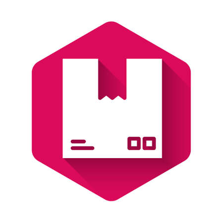 White Cardboard box with traffic symbol icon isolated with long shadow. Box, package, parcel. Delivery, transportation and shipping. Pink hexagon button. Vector Illustration. Illusztráció