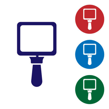 Blue Hand mirror icon isolated on white background. Set icons in color square buttons. Vector Illustration.