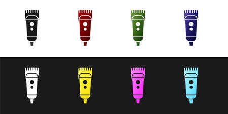Set Electrical hair clipper or shaver icon isolated on black and white background. Barbershop symbol. Vector Illustration.