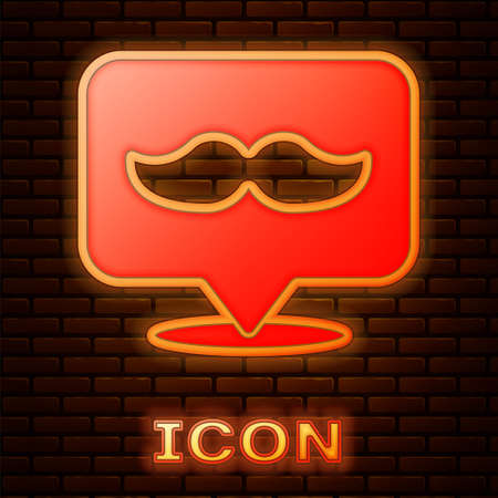 Glowing neon Barbershop icon isolated on brick wall background. Hairdresser signboard. Vector Illustration.