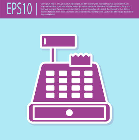 Retro purple Cash register machine with a check icon isolated on turquoise background. Cashier sign. Cashbox symbol.  Vector Illustration.