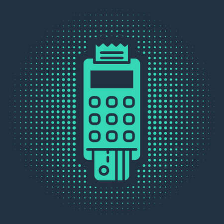 Green POS terminal with inserted credit card and printed reciept icon isolated on blue background. NFC payment concept. Abstract circle random dots. Vector Illustration. Vectores