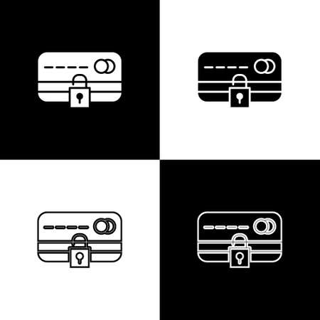 Set Credit card with lock icon isolated on black and white background. Locked bank card. Security, safety, protection. Concept of a safe payment. Vector Illustration.