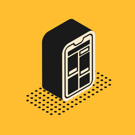 Isometric Online shopping on mobile phone icon isolated on yellow background. Internet shop, mobile store app and payments billing.  Vector Illustration. 向量圖像