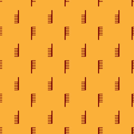Red Hairbrush icon isolated seamless pattern on brown background. Comb hair sign. Barber symbol. Vector Illustration. Çizim