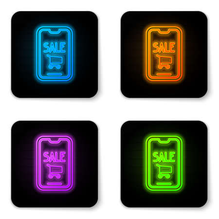 Glowing neon Mobile phone and shopping cart icon isolated on white background. Online buying symbol. Supermarket basket symbol. Black square button. Vector Illustration. 向量圖像