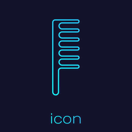 Turquoise line Hairbrush icon isolated on blue background. Comb hair sign. Barber symbol. Vector Illustration. Çizim
