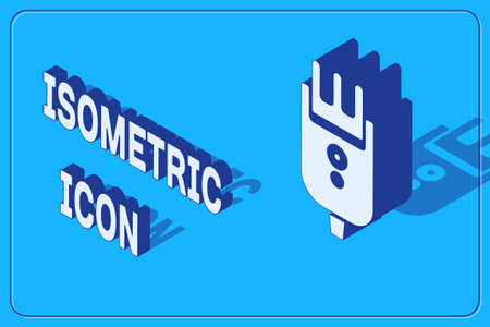 Isometric Electrical hair clipper or shaver icon isolated on blue background. Barbershop symbol. Vector Illustration. Çizim